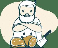 Ein Metzger steht vor mehreren Stücken Fleisch