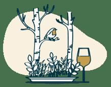 Ein Wald sprießt aus einem Teller